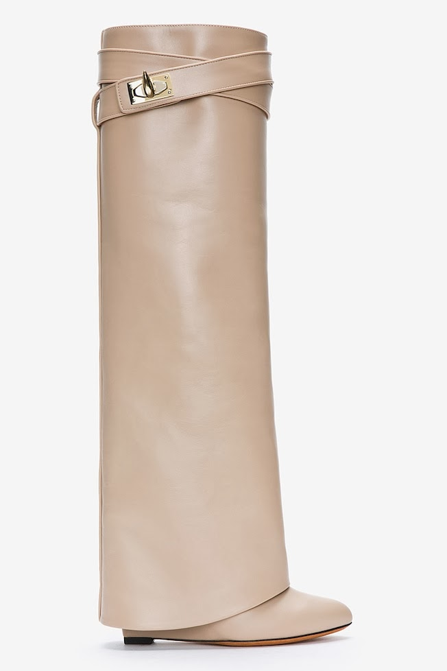 The_Garage_Starlets_Givenchy_Nude_Leather_Shark_Lock_Column_Wedge_Boots_01