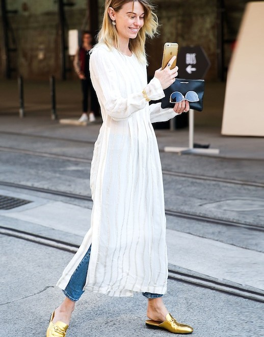 Le-Fashion-Blog-Street-Style-Layered-Summer-Look-Gauzy-White-Maxi-Dress-Jeans-Gold-Gucci-Slip-On-Loafers-Via-Popsugar